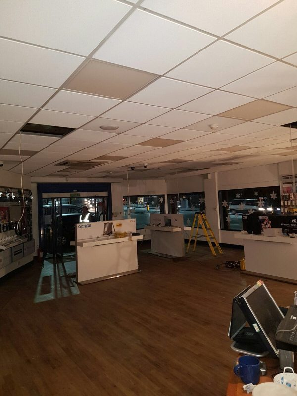 Grid Ceiling repairs after Fire Damage, Carphone Warehouse, Sheffield